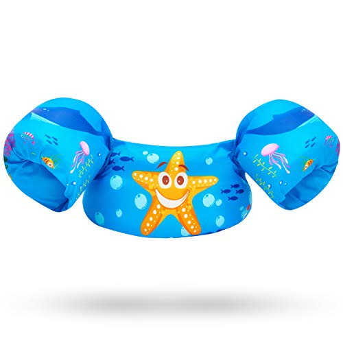 Toddler Life Jacket - Swim Vest Swim Floaties for Toddlers Girls and Boys 20-30-40-50 pounds - Kids Swim Vests for Pool, Beach, Lake and River - Baby Life Jacket Floatie Device - Swimmies (Starfish)