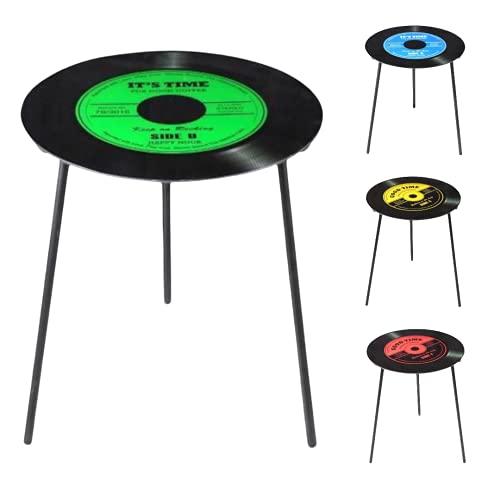 TIENDA EURASIA® Mesas Auxiliares para Salon - Mesa Auxiliar Estilo Vintage - Tapa de Cristal Diseño Vinilo - Ø 50 cm x h 50 cm (Verde)