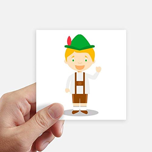DIYthinker groen bruin Duitsland Cartoon Square Stickers 10Cm muur koffer Laptop Motobike Decal 8 Stks