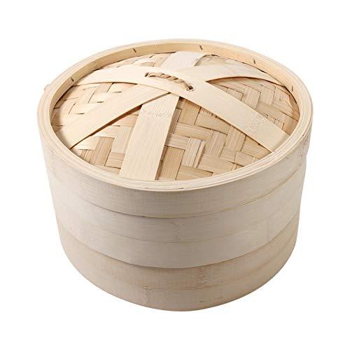 Vaporiera per alimenti, 4 dimensioni 2 livelli Cestello per cottura a vapore in bambù Fornello per alimenti per cottura di riso naturale cinese con coperchio Nuovo(26cm)