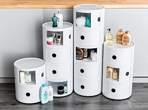 Costello® Mehrzweck-Eckregal aus Kunststoff, Weiß, 4 Ebenen, für Badezimmer, Küche, Küche, freistellender Kunststoff