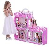 KrasaToys 000268 Puppenhaus Anna aus neuem Material - kein Holz | Puppenvilla für Mädchen inkl. Möbel und Zubehör | 3 Spielebenen für 30 cm große Puppen |...