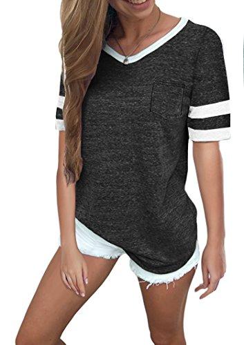 Ehpow Damen Kurzarm T-Shirt V-Ausschnitt Casual Sommer Lose Shirt Oversize Oberteile (Large, Dunkelgrau)