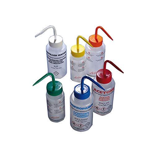 Scilabware WGW603PML LDPE - Agua desionizada, cuello ancho, 500 ml, color blanco, lote de 5