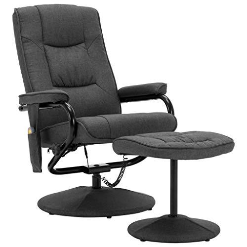 vidaXL Massagesessel mit Fußhocker Wärmefunktion Relaxsessel Fernsehsessel TV Sessel Liegesessel Polstersessel Ruhesessel Dunkelgrau Stoff
