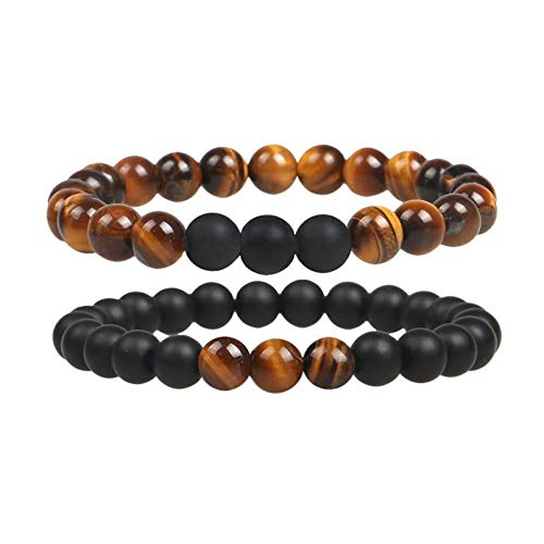 N/A Aniversario Charm Tiger Eye Beads Pulseras para Mujeres Health Blance Pulsera elástica de Piedra Natural Hombres Joyería de Moda Regalo
