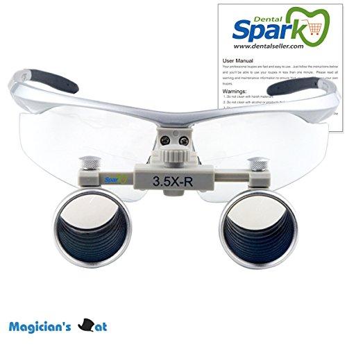 Spark 眼鏡式ヘッドルーペ 3.5倍歯外科手術手作業専用 銀色スポーツフレーム CH350 製作 機械 作業 生物研究 開発 手術 歯科 医用 医者 眼科 外科にも使える 拡大鏡 虫眼鏡 双眼ルーペ 時計見ルーペ