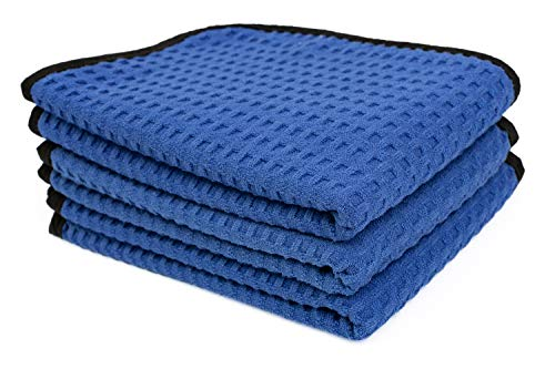 The Rag Company - Dry Me A River - Professional Korean 70/30 Blend Microfiber Waffle-Weave Drying & Detailing Towels, Soft Suede Edges, Royal Blue, 16in x 24in (3-Pack)