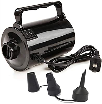 Electric Air Pump for Inflatable Pool Toys - High Power Quick-Fill Air Mattress Inflator Deflator Pump for Pool Float Raft Airbed with 3 Nozzles, 320W, 110V AC, 1.6PSI, Air Flow 26CFM, Black by Smart Plastic Manufacturing