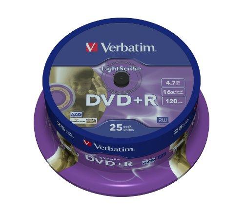 Verbatim DVD+R 16X Speed 4,7 GB Lightscribe 25er Spindel DVD-Rohlinge