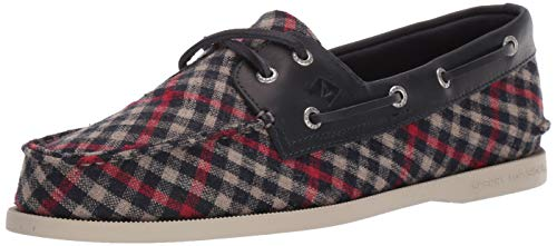 Sperry Mens A/O 2-Eye Tailored Boat Shoe, Navy/Red, 9 -  STS19741-410-9 M US