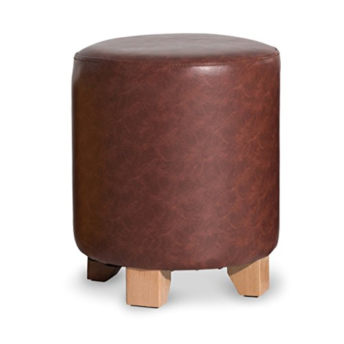Leileixiao Sofa Stool Footstool PU Ottoman Round Pouffe Wooden Change Shoe Stool Upholstered Makeup Stool Study Room Living Room Dining Room (Color : Brown, Size : L)