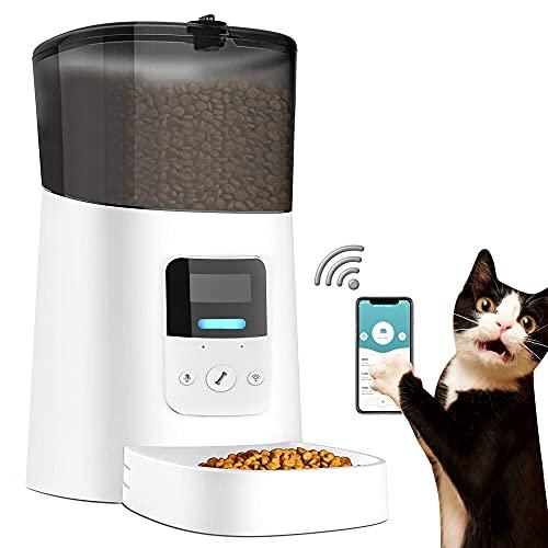 Distributori Automatici di Cibo per CanI Gatti, WiFi 6L Distributore Automatico di Cibo per Gatti Cani, Alimentatore Automatico per Cani e Gatti e Animali Domestici con Controllo della Porzione