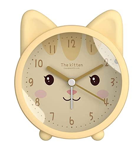 Makeupart Niños Lindo Animal Perro/Gato Despertador silencioso sin tictac Escritorio de Cuarzo Despertador de Noche for niños (Color : 03)