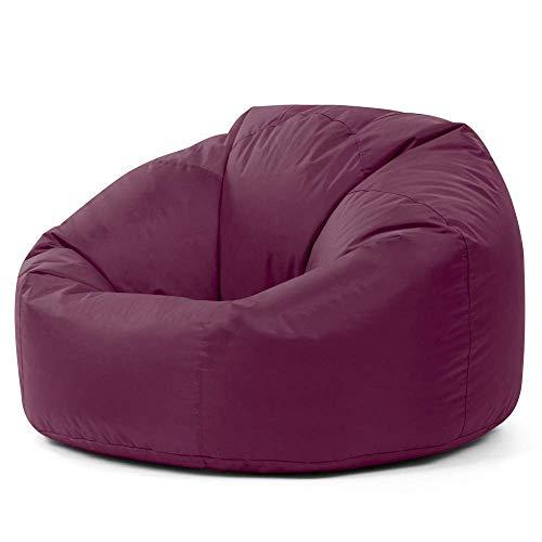 Bean Bag Bazaar Panelled Classic Bean Bag Chair, Mulberry Purple - Large, 84cm x 70cm - Indoor Outdoor Water Resistant BeanBags