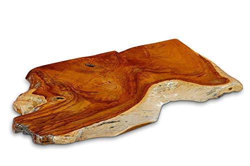Kinaree Waschtisch Platte Teak Wurzelholz - 100cm Waschtischunterplatte aus massivem Holz im rustikalen Landhausstil für einen außergewöhnlichen Waschplatz im Badezimmer