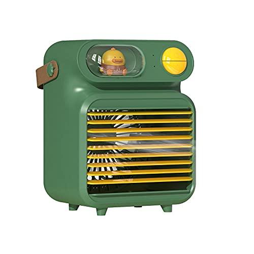 QINX Refrigerador de aire USB para escritorio, mini ventilador, aire acondicionado, para oficina, dormitorio, 4000 mAh, verde