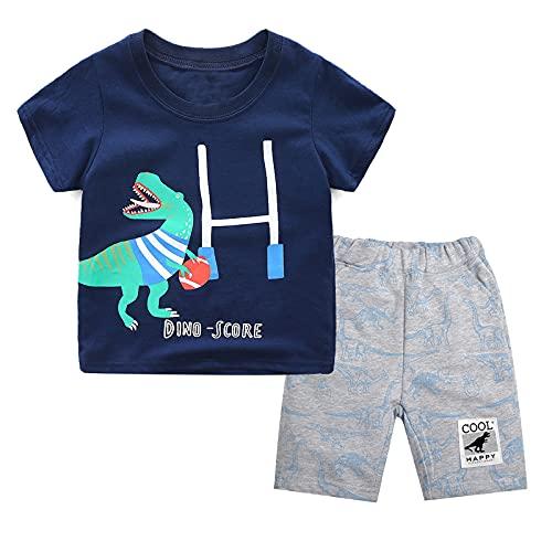 Ropa Bebés Niños Conjunto de Pantalones Cortos de Camiseta con Estampado de Dinosaurio de Algodón para Niños 2 Piezas Ropa de Verano para Niños Trajes