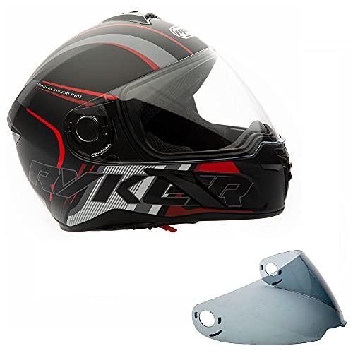 MMG 22 Motorcycle Scooter Street Full-Face Helmet Flip Up Visor DOT – Lightning Red, XL