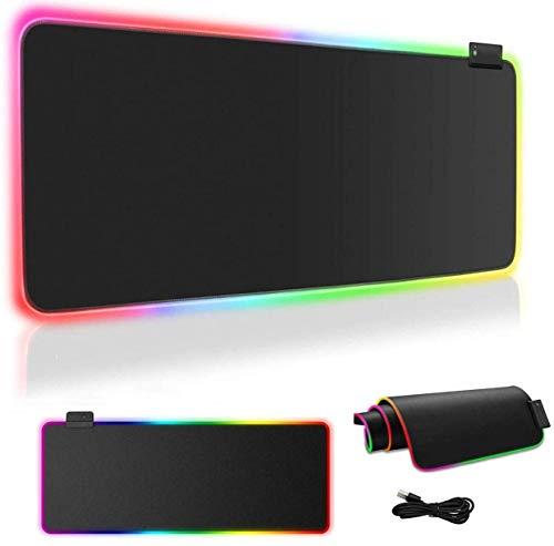 Alfombrilla de ratón USB grande RGB, base de goma antideslizante, 7 colores luminosos, ideal para oficina, juegos, PC y ordenadores portátiles, almohadilla de ratón suave negro 800 mm x 300 mm x 4 mm