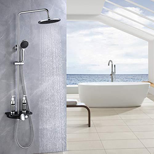 Auralum Douchesysteem met 2 functies, douchearmatuur, rechthoekig, doucheset met doucheplank, douchegarnituur incl. douche, handdouche, regendouche, douchezuil in hoogte verstelbaar, douchestang 80-115 cm