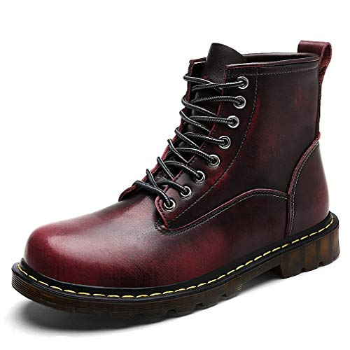 Tebapi Mens Backpacking Boots Winter Martin Boots Men Genuine Leather Warm Fur Work Ankle Boots Casual Shoes Men's Military Boots Snow Cowboy Bota Bot Red 10