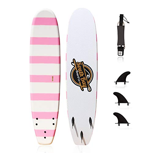 Basic Beginner Soft Top Foam Surfboards for Kids-6' Guppy Pink-with 3 Rounded-Edge Soft-Top Surfboard Fins (Thruster Set) & Fin Screws, 6' Leash, and Easy Carry Handle with Widened Chest Area