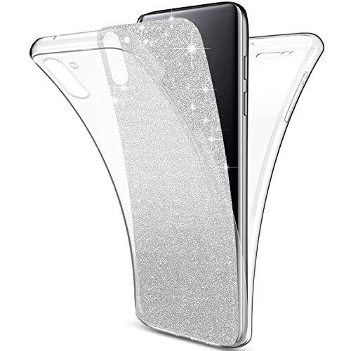 Herbests Kompatibel mit Samsung Galaxy Note 10 Hülle 360 Grad HandyHülle Bling Glitzer TPU Silikon Hülle Komplettschutz Rundumschutz-Schale Vollschutz Handyhülle Front + Back Full Cover,Silber