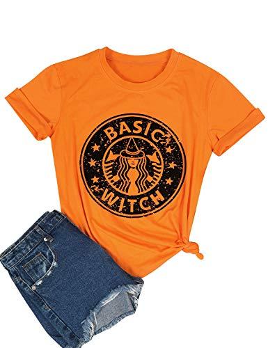 OUNAR Hocus Pocus Shirt Women Basic Witch T-Shirt Halloween Costume Plus Size Tee Top