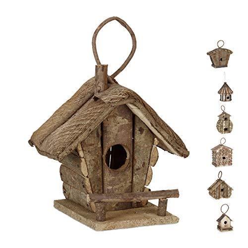 Relaxdays Deko Vogelhaus zum Aufhängen, unbehandeltes Holz, Balkon, Garten, Nistkasten HBT: 28,5 x 20,5 x 17,5 cm, Natur