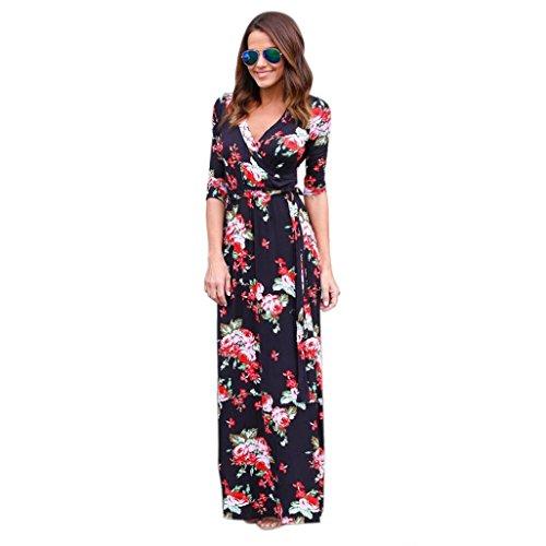 Binggong Damen Kleid, Frauen Mode V-Ausschnitt Boho Retro Lange Maxi Abend Party Strandkleid Floral Sommerkleid Cocktailkleid Pyjama (Sexy Schwarz, M)