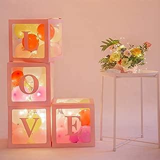 4pcs DIY Transparent Box Latex Balloon Love Blocks for Boy Girl Baby Shower Wedding Birthday Party Decoration Backdrop