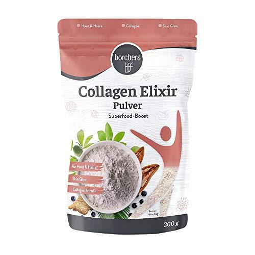 borchers Collagen Elixier Pulver, Hydrolysat Typ1 und 3, Vanille- Erdbeer Geschmack, Eiweiß-Pulver, Kollagenpulver, 200 g