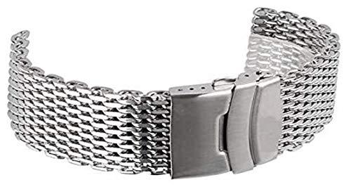 Beapet Uhrenriemen Silber 18mm / 20mm / 22mm / 24mm Band Edelstahl Shark Mesh Watch Band Strap Armbanduhr Gurte Armband Armband (Size : 22mm)