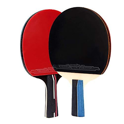 1 par de raquetas de tenis de mesa, de goma de madera, mango largo/corto, para deportes al aire libre, para entrenamiento de ping-pong, con 3 pelotas de ping pong (tamaño: tamaño libre; color: A)