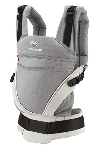 manduca XT Mochila Portabebe > Cotton grey/white < Portabebé con Anchura de la Base Regulable en Continuo, Algodón Orgánico, para llevar al Bebé Delante, a la Espalda, en la Cadera (3,5- 20kg)