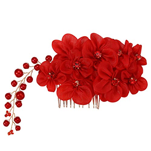 Lurrose Red Pearl Flower Hair Comb Floral Rhinestone Side Comb Beach Hair Comb for Wedding Party Travel