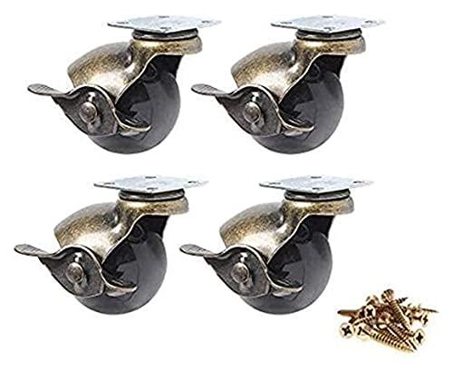 4 unids bola rueda rueda 360degree giratorio antigüedad placas giratorios metal con capucha bola con forma de freno de freno para silla de escritorio mesa de café zapatos de juguete con patas de muebl