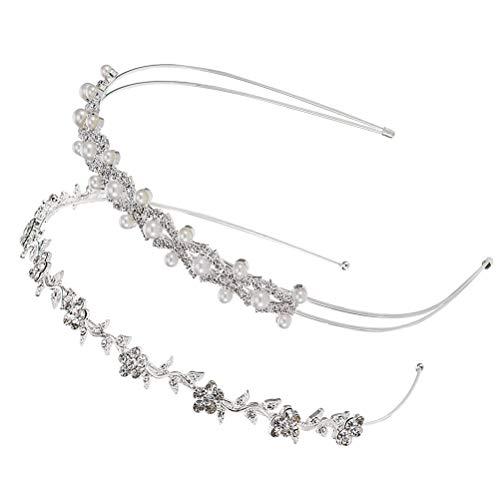 2pcs / 1 ensemble cerceau de cheveux strass hansmade perle design tête cerceau attrayant bandeau coiffure pour femme (argent)