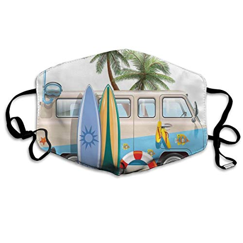 Komfortable Winddichte Maske,Surfing Weekend Concept with Diving Elements Fins Snorkeling and Van Trip Relax Peace