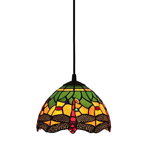 FAJOPQW Luz Colgante De Libélula Roja/Verde 7,9 Pulgadas De Diámetro Pantalla De Cristal Restaurante Ajustable Accesorios De Iluminación Lámpara De Techo Lámpara De Techo