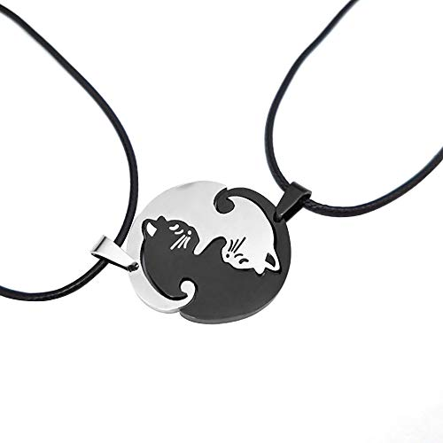Cuitan - Collar de Acero Inoxidable para Hombre y Mujer, diseño de Gatos, Color Blanco y Negro