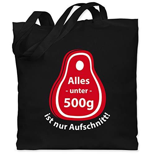 Shirtracer Grill - Alles unter 500g ist nur Aufschnitt - Unisize - Schwarz - stoffbeutel aus baumwolle bedruckt - WM101 - Stoffbeutel aus Baumwolle Jutebeutel lange Henkel