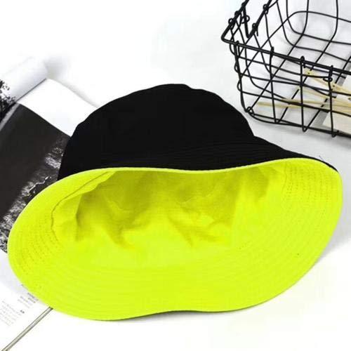 Sombrero de Cubo deColor sólido de Doble Cara paraHombres y Mujeres, Gorras de Moda para Mujer, Gorras de Verano para niños tristes, Sombrero de Pescador de Pesca al Sol-Black Green