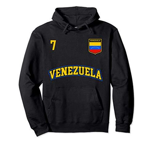 Squadra Calcio Venezuela Numero 7 Bandiera Venezuelano Felpa con Cappuccio