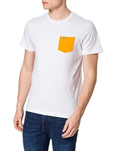 Tommy Jeans TJM Contrast Pocket tee Camiseta, Blanco/Naranja Florida, M para Hombre
