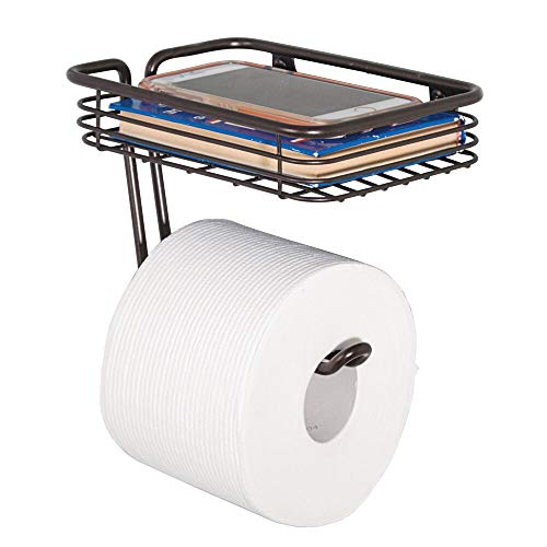 mDesign Toilet Tissue Paper Holder and Multi-Purpose Shelf - Wall Mount Storage Organizer for Bathroom, Holds 1 Mega Rolls - Durable Metal Wire Design - Bronze