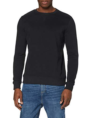 Amazon-Marke: MERAKI Herren Sweatshirt mit Rippenbündchen, Schwarz (Black), L, Label: L