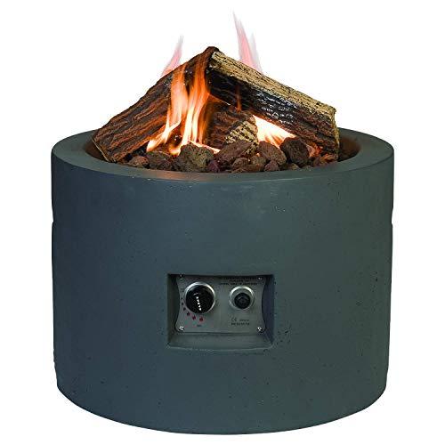 M A N I A Feuertisch für den Garten - Gas Feuerstelle ohne Rauch, Funken, Glut & Asche - Gaskamin Outdoor mit 19,5 kW in Betonoptik grau 61 x 61 x 42 cm - Gasfeuerstelle Terrassenkamin Kaminfeuer