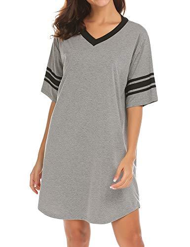 Ekouaer Womens Nightgown Cotton Sleep Shirt V Neck Short Sleeve Loose Comfy Pajama Sleepwear,A grey,Large